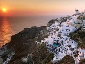 Остров Санторини в Эгейском море (Греция)